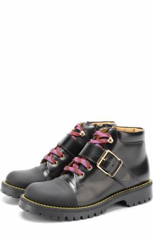Кожаные ботинки с контрастной шнуровкой и ремешками Gallucci. Цвет: черный