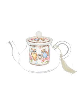 Чайник с ситом Совушки Elan Gallery. Цвет: розовый, зеленый, коричневый