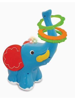 Развивающая игрушка  Слон-кольцеброс Kiddieland. Цвет: голубой, белый, красный
