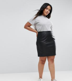 Elvi Полиуретановая юбка. Цвет: черный