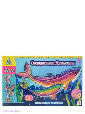 Мозаика Сверкающие дельфины, 4 шт. The ORB factory. Цвет: розовый, голубой, зеленый
