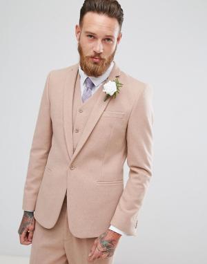 ASOS Светло-розовый приталенный пиджак с добавлением шерсти Wedding. Цвет: розовый