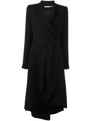 Пальто асимметричного кроя с поясом Alice+Olivia. Цвет: чёрный