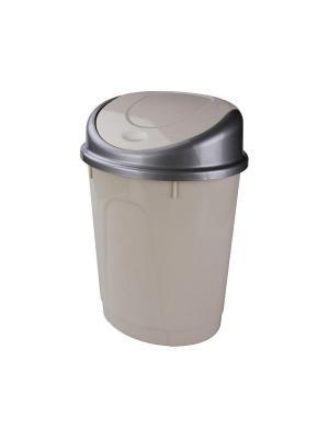 Контейнер для мусора 8л (овальный)(слон.кость) Альтернатива. Цвет: бежевый, серый