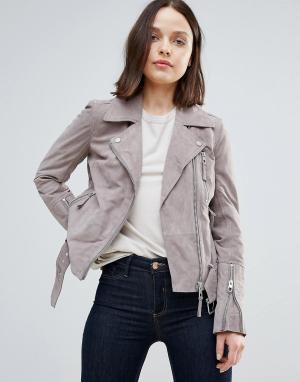 Urbancode Замшевая байкерская куртка. Цвет: серый