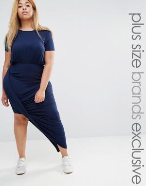 Club Lounge Plus Платье макси с короткими рукавами и драпировкой спереди L. Цвет: темно-синий