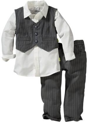 Рубашка + жилет брюки (3 изд.) (антрацитовый/белый) bonprix. Цвет: антрацитовый/белый