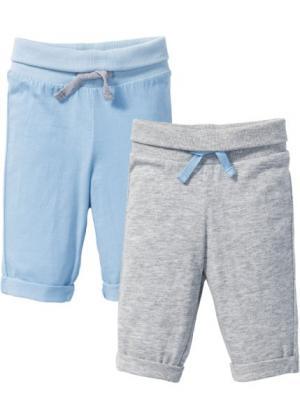 Трикотажные брюки для малышей (2 шт.), органический хлопок (нежно-голубой/светло-серый меланж) bonprix. Цвет: нежно-голубой/светло-серый меланж