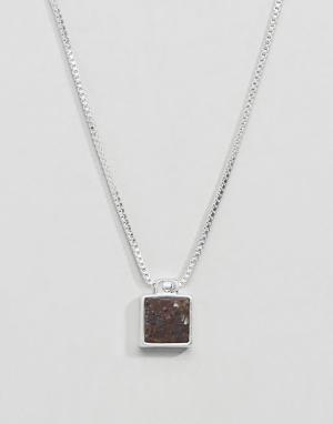 Pilgrim Посеребренное ожерелье с коричневым камнем. Цвет: серебряный