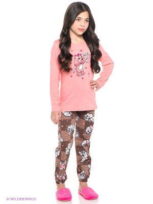Пижама Vienetta Secret. Цвет: светло-коралловый, бежевый, коричневый