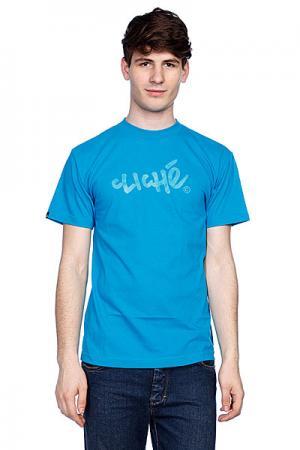 Футболка  Handwritten Classic Turquoise Cliche. Цвет: голубой
