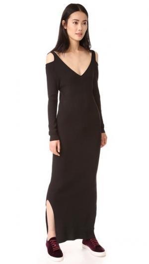 Платье с открытыми плечами вырезом RIB v-образным 525 America. Цвет: голубой