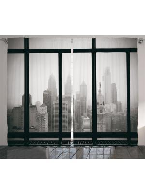 Комплект фотоштор для гостиной Серый мегаполис, плотность ткани 175 г/кв.м, 290*265 см Magic Lady. Цвет: серый, белый, черный