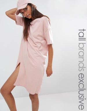 One Day Tall Платье-футболка в стиле oversize c разрезом. Цвет: розовый