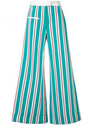 Полосатые брюки в полоску Rosie Assoulin. Цвет: зелёный