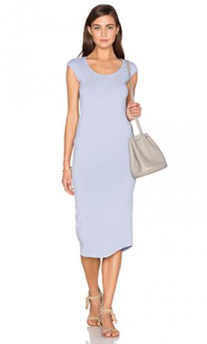 Платье миди MONROW. Цвет: синий