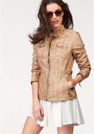 Кожаная куртка Aniston. Цвет: телесный