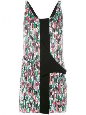 Платье с цветочным кружевом и вышивкой Balenciaga Vintage. Цвет: многоцветный