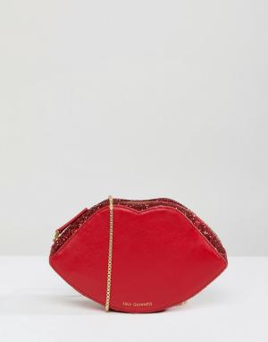 Lulu Guinness Красная блестящая сумочка через плечо в форме губ. Цвет: красный