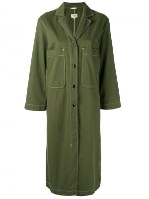 Пальто с накладными карманами Bellerose. Цвет: зелёный