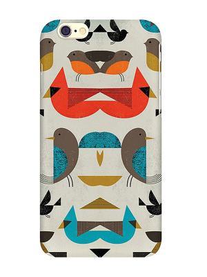 Чехол для iPhone 6 Птички-невелички Mitya Veselkov. Цвет: красный, белый, желтый