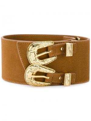 Ремень с двойной пряжкой в ковбойском стиле B-Low The Belt. Цвет: коричневый