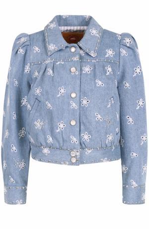 Джинсовая куртка с вышивкой и рукавом-фонарик Marc Jacobs. Цвет: голубой