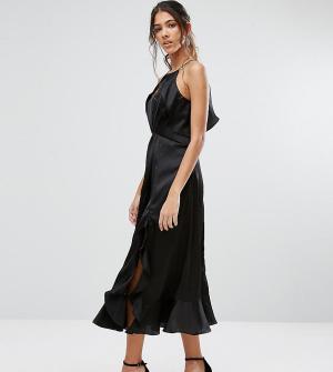 Jarlo Tall Платье миди с высокой горловиной и рюшами. Цвет: черный