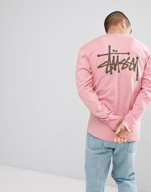 Stussy Розовый лонгслив с логотипом на спине. Цвет: розовый