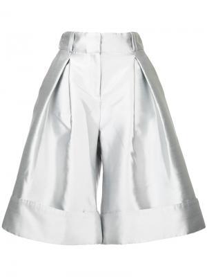 Укороченные широкие брюки Antonio Berardi. Цвет: металлический