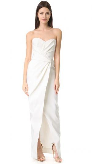Вечернее платье-бюстье с драпировкой Charlotte J. Mendel. Цвет: золотой