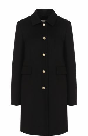 Шерстяное пальто с отложным воротником и жемчужными пуговицами Gucci. Цвет: черный
