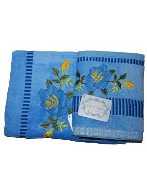 Комплект полотенец 2пр Розы (50х90,70х140) La Pastel. Цвет: синий