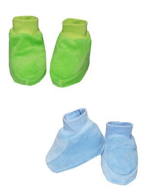 Пинетки, 2 шт. КОТМАРКОТ. Цвет: голубой, зеленый