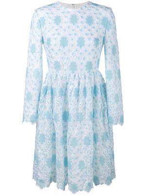 Вязаное крючком кружевное платье Huishan Zhang. Цвет: синий