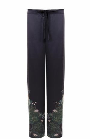 Шелковые брюки с принтом Meng. Цвет: черный