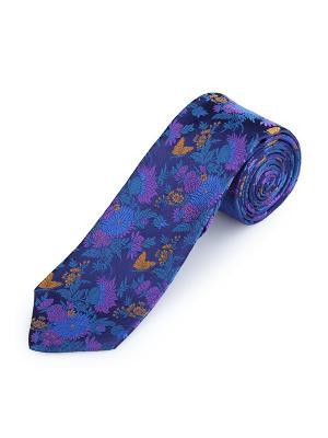 Галстук Jardin Lumineux Smalt Duchamp. Цвет: темно-синий, горчичный, индиго, лазурный, светло-коричневый, серо-голубой, фиолетовый