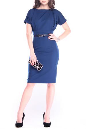 Повседневное платье с ремнем REBECCA TATTI. Цвет: синий