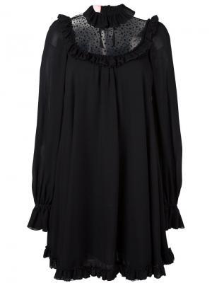 Свободное платье с прозрачной панелью Giamba. Цвет: чёрный