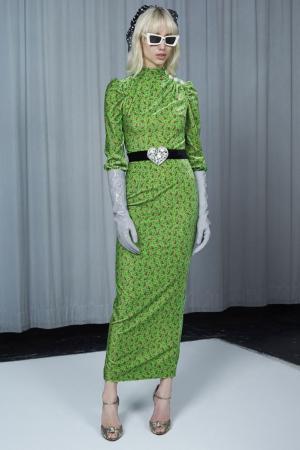 Бархатное платье с цветочным принтом Alessandra Rich. Цвет: зеленый