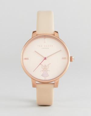 Ted Baker Розовые часы с кожаным ремешком Kate Ballerina. Цвет: розовый