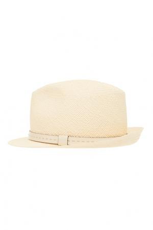 Белая шляпа с кожаной лентой Gucci. Цвет: белый