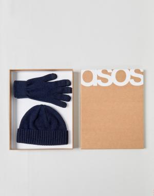 ASOS Темно-синяя шапка-бини и перчатки из овечьей шерсти в подарочном набор. Цвет: темно-синий