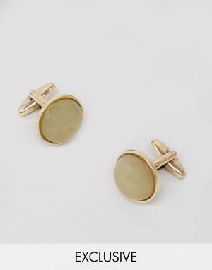 DesignB London Золотистые запонки с камнем эксклюзивно для ASOS. Цвет: золотой