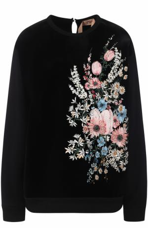Хлопковый свитшот с контрастной цветочной вышивкой No. 21. Цвет: черный