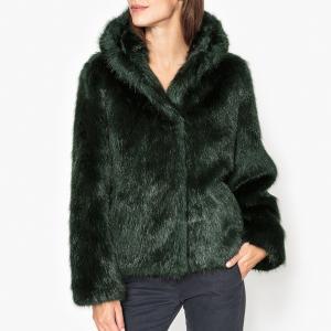 Пальто укороченное с капюшоном эффектом меха ELECTRO OAKWOOD. Цвет: зеленый,черный