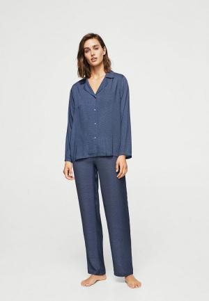 Рубашка домашняя Mango. Цвет: синий