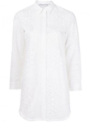 Удлиненная рубашка с вышивкой Alice+Olivia. Цвет: белый
