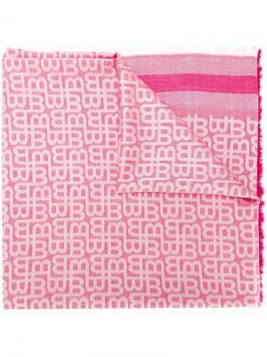 Жаккардовый платок с бахромой Bally. Цвет: розовый и фиолетовый