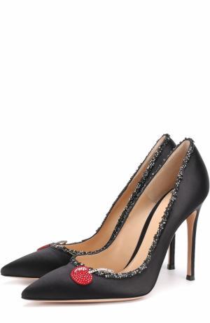 Атласные туфли с декором на шпильке Gianvito Rossi. Цвет: черный